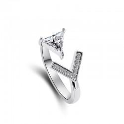 欧美个性夸张精美字母V开口戒指 气质几何三角形送女友礼物 8149-46