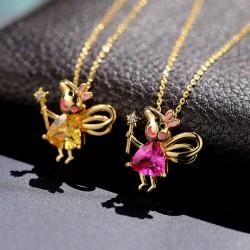 动漫卡通奢华气质铜锆石小猪项链 时尚超可爱水晶短款锁骨链  8157-68