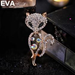 EVA颐娲 高端服装配饰品牌 韩国可爱水晶镂空狐狸时尚动物胸针别针 女 4969-73