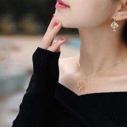 韩版时尚百搭气质圣诞树项链叶子耳环首饰套装 8161-42