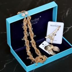 复古文艺套装森系小清新项链耳环胸针三件套 气质高档珍珠配饰品配礼盒