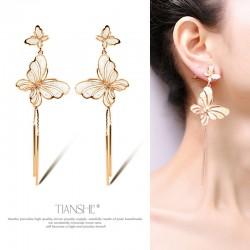 天奢TIANSHE  厂家直销 个性简约长款流苏蝴蝶耳环项链套装 韩国时尚饰品  2015747