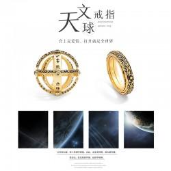 千族银 银饰品牌 德国复古天文球戒指S925纯银 情侣款翻转变宇宙创意潮流对戒 Q431-615