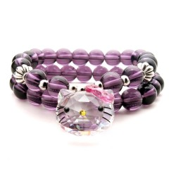 天奢TIANSHE Hello Kitty KT猫奥地利水晶卡通猫头蝴蝶结紫水晶手链 2014765