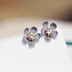 韩版小清新花朵耳钉 气质个性简约耳环 水晶甜美防过敏耳饰 8239-30