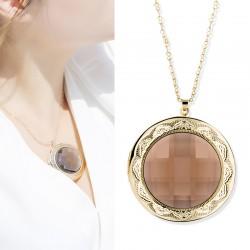 JAENONES嘉诺丝 外贸首饰品牌 亚马逊Wish爆款欧美时尚圆形水晶相盒 复古印花项链 A405-59