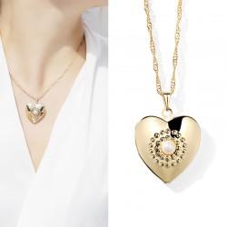 JAENONES嘉诺丝 外贸首饰品牌 欧美热销新款 爱桃心珍珠相盒 记忆项链DIY可放照片 A402-41