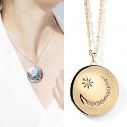 JAENONES嘉诺丝 外贸首饰品牌 WISH爆款 时尚圆形点钻星星月亮相盒 可打开放照片 记忆项链 A396-59