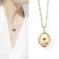 JAENONES嘉诺丝 外贸首饰品牌 椭圆星星点钻相盒 可打开放照片吊坠项链 A401-41