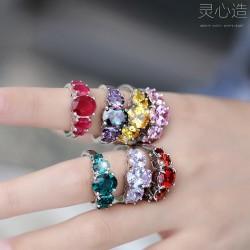 灵心造 时尚欧美外贸水晶镶锆石戒指 经典气质水晶戒指指环批发 K365-68