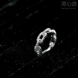 灵心造 日韩时尚气质新款 奢华满钻锆石戒指 个性锁链戒指指环女 K364-60