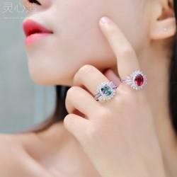 千族银 食指戒日式轻奢锆石戒指网红女夸张潮人简约时尚个性欧美指环 K370-68