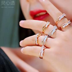 灵心造 食指锆石戒指女ins潮流时尚冷淡风个性关节韩版网红指环 K372-68