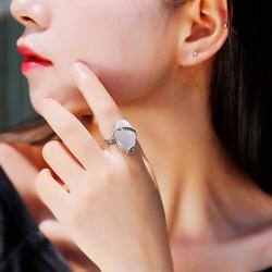 亚马逊热销 欧美气质猫眼石戒指 时尚百搭复古指环男女款 8254-43