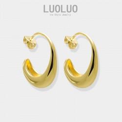 LUOLUO《勾引》欧美简约冷淡风饰品 ins金属圆弧弯钩耳环极简设计感 L005-80