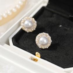 千族银 珍珠925银针耳钉 欧美潮款高级画油精致做工 Q551-70