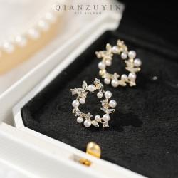 千族银 森系珍珠花环耳钉 925银针防过敏 立体树枝形状更显活力 Q548-70