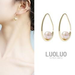 LOULOU 韩国小众气质水滴圈耳环中心镶嵌贝珠垂感十足 L016-80