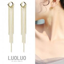 LOULOU  菱形复古流苏扣耳环 流苏设计更显脸小气质高级 L017-90