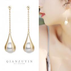 千族银 2021新款韩风长款法式S925银针珍珠耳坠防过敏耳环女Q555-56