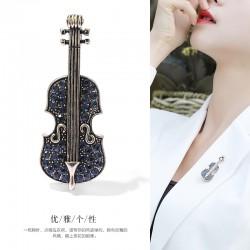 西凉妃子 时尚新款英伦风迷你小提琴胸针女高档精致 女款西装领针百搭X1584-65