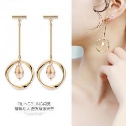 钻叶 几何圆形长款女耳环修饰脸型小众高级感法式耳饰8258-46