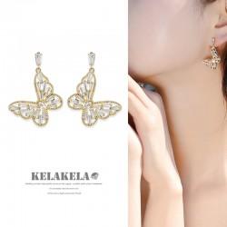 灵心造 S925银针精致锆石蝴蝶耳环女复古镂空高级感设计 K385-80