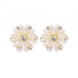千族银 2021新款时尚 韩国气质925纯银耳环水晶菊花手工设计一件代发 Q562-45