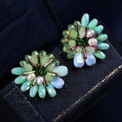 LUOLUO S925纯银耳针新款韩国耳环 奢华水晶大颗彩色花朵富贵花造型 蓝色大海耳钉 L1009-110