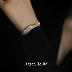 Listen To Me 跨境货源欧美潮人穿搭爆款双C手镯手饰圣经女士钛钢玫瑰金小香手链