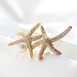 西凉妃子 跨境欧美时尚配饰 创意海星锆石珍珠别针精致女西装胸针 X197