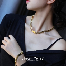 Listen To Me 欧美粗链条手链女 简约钛钢嘻哈冷淡个性24K真金韩版不锈钢项链套装  LT106