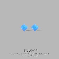 天奢TIANSHE 蓝色少女设计感S925纯银耳针 简约气质欧珀水晶耳钉超仙小众复古耳环 T039-45