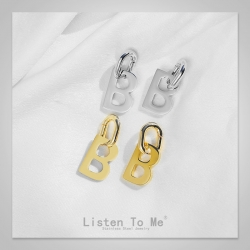 Listen To Me 巴黎时装周 复古高级感不锈钢不惧褪色欧美字母B耳环个性百搭耳环耳坠 LT6000-135
