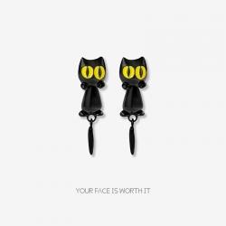 欧美潮流个性罗小黑战记耳饰  搞怪黑色小猫咪耳钉 尾巴可活动 创意耳环 8263-56