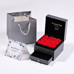 手提袋贺卡抽屉式情人节日礼盒套装9朵永生花玫瑰花首饰礼品盒生日礼物 6058-100