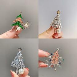西凉妃子 轻奢冷淡风铜锆石胸针 浪漫花束高贵旗袍服装配饰精致百搭圣诞树胸花