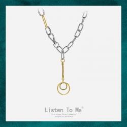 Listen To Me 跨境亚马逊欧美夸张不锈钢项链 潮流圆圈款时髦复古钛钢颈链 LT151-180