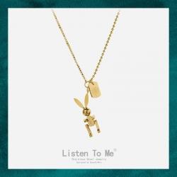 Listen To Me 简约个性机械兔钛钢项链女 小众设计18K金冷淡风不锈钢锁骨链 LT158-120