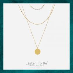Listen To Me 钛钢不掉色三层冷淡风复古圆牌项链 欧美简约多层叠戴长款精致淡水珍珠不锈钢不褪色女 LT180-170